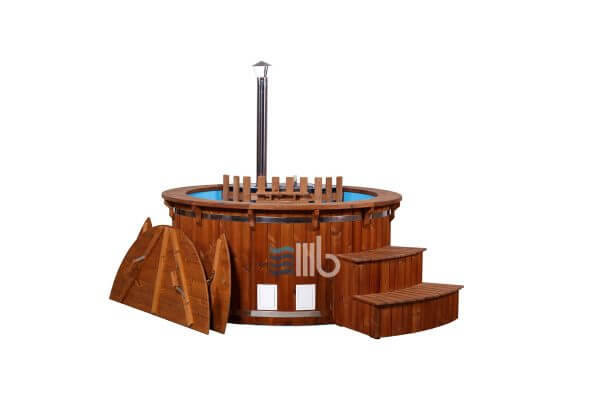 Plastic hot tub with internal heater curved steps and wooden cover by the side – BUCI