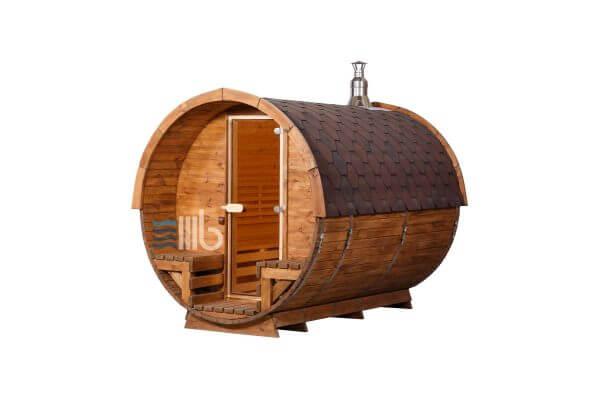Wooden barrel sauna with open sitting space – BUCI