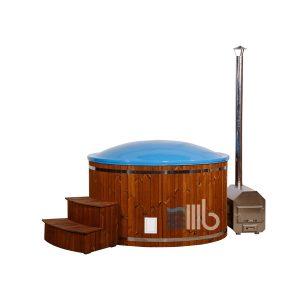 Bedeckt Deluxe blau Fiberglas Holz Badetonne mit externer Heizung und geschwungenen Treppe – BUCI