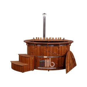 Royal Thermoholz Badetonne mit Holzdeckel und geschwungenen Treppe – BUCI