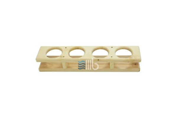 Front view of spruce wood drink holder for hot tub with internal heater – BUCI