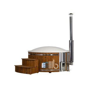 Bedeckt Deluxe weißer Wellness Holz geheizter Badetonne mit integrierter Heizung und geschwungenen Treppe – BUCI