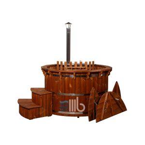 Thermo en bois spa deluxe avec l'intérieur le chauffage et courbés escaliers couvercle – BUCI