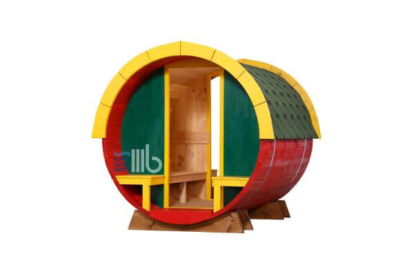 Front view of wooden barrel playhouse for children with open end – BUCI