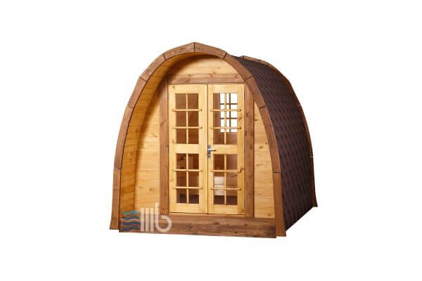 Side view of wooden camping pod – BUCI