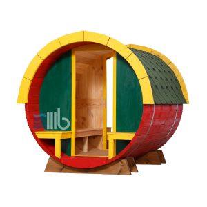 Vorderansicht Spielhaus der hölzernen Kinder mit offenen Enden – BUCI