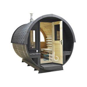 Schwarz Holzfass Sauna mit Holzofenr und Glastüren – BUCI